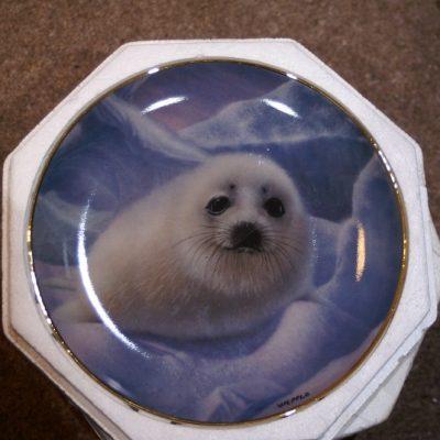 Franklin Mint Seal Snow pup Plate ltd