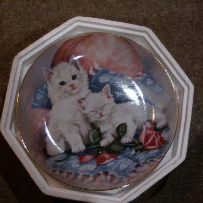 Franklin Mint Purrfectly Precious twin cats Plate ltd